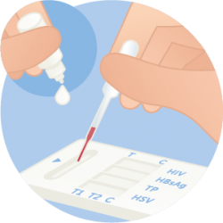 Add buffer to blood sample